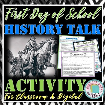 "First Day of School ""History Talk"" Activity for Middle and"