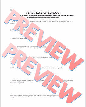 First Day of School Homework