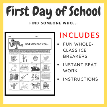 First Day of School Ice Breaker: Find Someone Who...