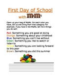 First Day of School Ice Breaker Game with M&M candies