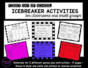 First Day of School Icebreaker Activities - Classroom or Small Group