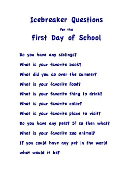 First Day of School Icebreaker Questions