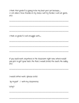 First Day of School Information Sheet