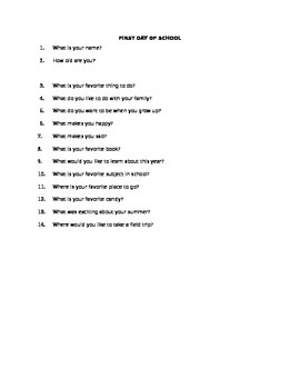 First Day of School Interview Questions