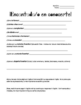 First Day of School Intro. for ESOL / ESL, Spanish version & Vocab. Activity
