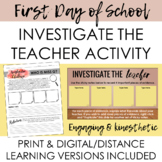 First Day of School Investigate the Teacher Activity - Engaging + Print/Digital