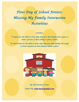 First Day of School Jitters: Missing My Family Interactive Activities