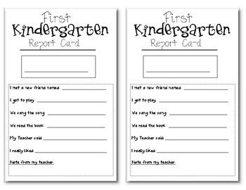 First Day of School Kindergarten/Preschool Report Card by ...