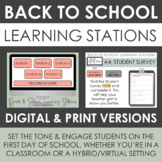 First Day of School Activity: Learning Stations - Print or