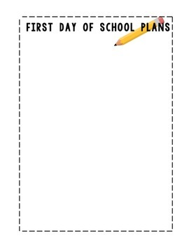 First Day of School Lesson Plan Template