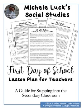 First Day of School Lesson Plan for Teachers - Middle & High School