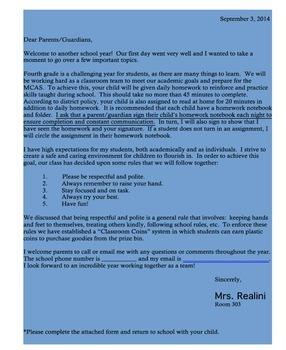 First Day of School Letter