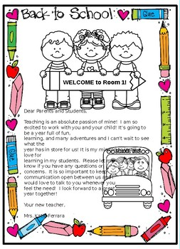 First Day of School Letter for Parents
