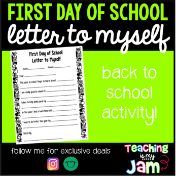 First Day of School - Letter to Myself