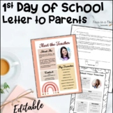 First Day of School Letter to Parents