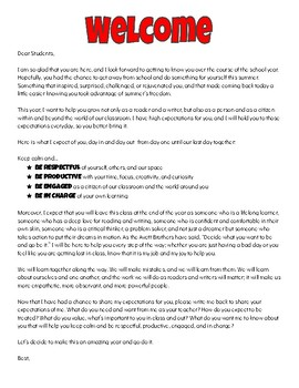 First Day of School Letter to Students