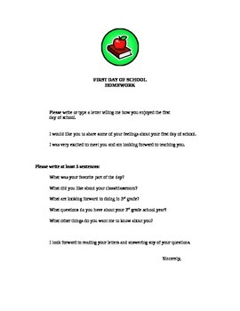 First Day of School Letter to the Teacher
