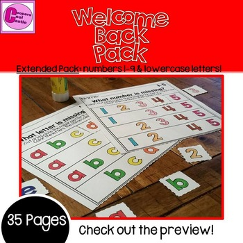 First Day of School Letters & Numbers Welcome Back Extended Pack !(Assessment)