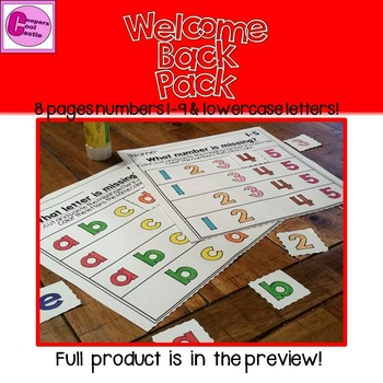 First Day of School Letters & Numbers Welcome Back Pack !(Assessment)