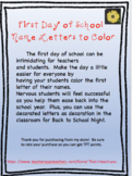 First Day of School Letters to Color