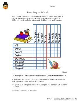Back to School * First Day of School Logic Puzzle