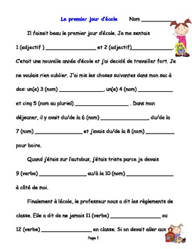 First Day of School - Mad Lib - French Reading and Writing, Grade 3, 4, 5, 6