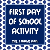First Day of School Math Activity