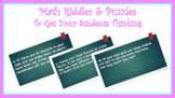 First Day of School Math Riddles and Puzzles