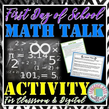 """First Day of School """"Math Talk"""" Activity for Middle and High School Students"""