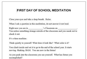 First Day of School Meditation