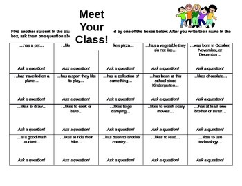 First Day of School Meet Your Classmates Activity