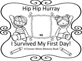 First Day of School Memory Page (Black and White) Free