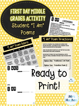 "First Day of School - Middle Grades ELA Activity!  ""I Am"" Poems!"