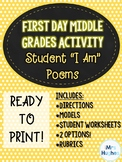"""First Day of School - Middle Grades ELA Activity!  """"I Am"""" Poems!"""