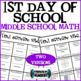 First Day of School Middle School Math Find Someone Who