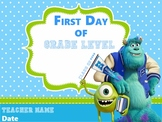 First Day of School (Monsters University) EDITABLE
