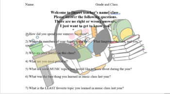 First Day of School - Music Classroom Student Questionnaire-Editable