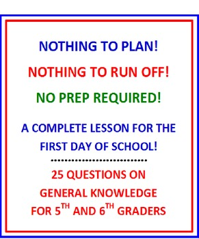 First Day of School 5th and 6th Grade (NO PREP) Fun Quiz with Lesson Plan
