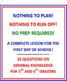 First Day of School 5th and 6th Grade (NO PREP) Fun Quiz w