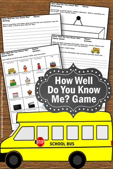Getting to Know You Activities, All About Me, Back to School Activities