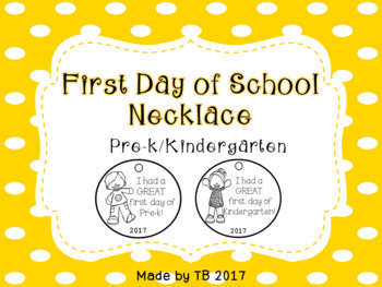 First Day of School Necklace Freebie