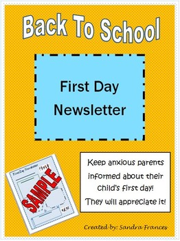 First Day of School Newsletter
