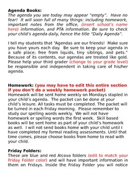 First Day of School Newsletter to send home to parents