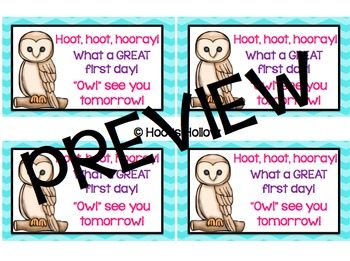 First Day of School: Owl Gift Tags