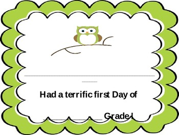 First Day of School Owl Themed Awards *EDITABLE*