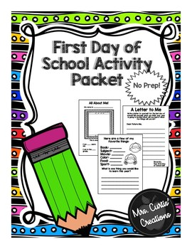 First Day of School Packet (1st-5th Grade)