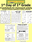 First Day of School Worksheets for 1st Grade (with U.S. and Canadian spelling)