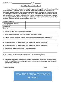 First Day of School Parent Interview Sheet
