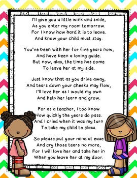 First Day of School Parent Letter