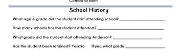 First Day of School Parent Questionaire